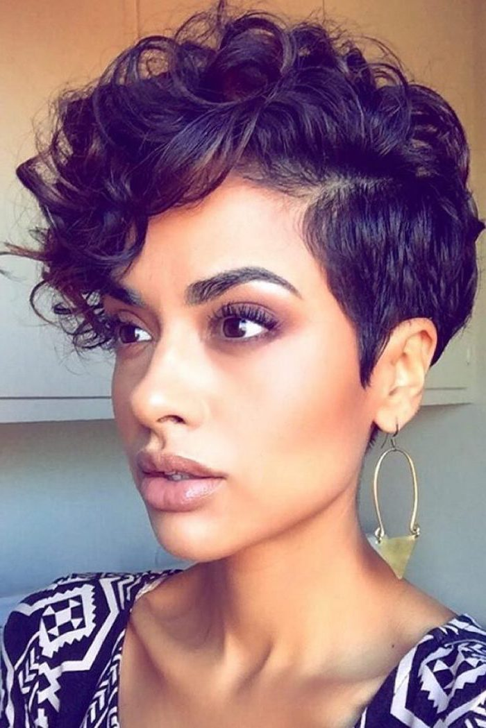 hoop earrings, curly hairstyles for black women, black and white top, black hair