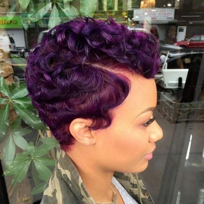 purple hair, pixie cut, cute short haircuts for women, navy jacket