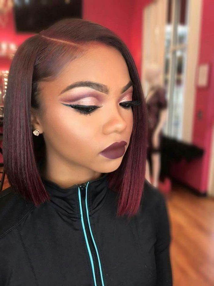 black jacket, red burgundy hair, cute short haircuts for women, dark red matte lipstick