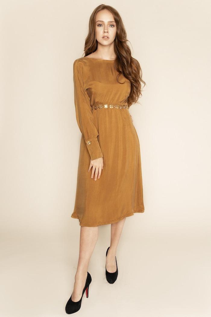 gold bridesmaid dresses long, below the knee length, black shoes, long wavy brown hair