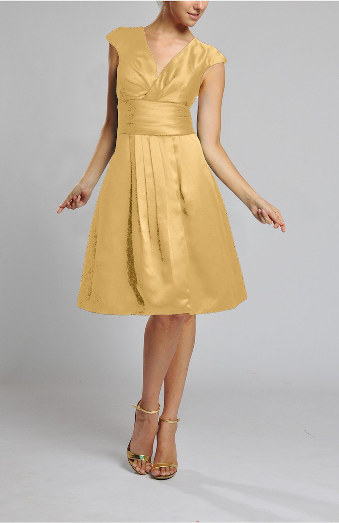 satin dress, above the knee length, gold bridesmaid dresses long, gold sandals