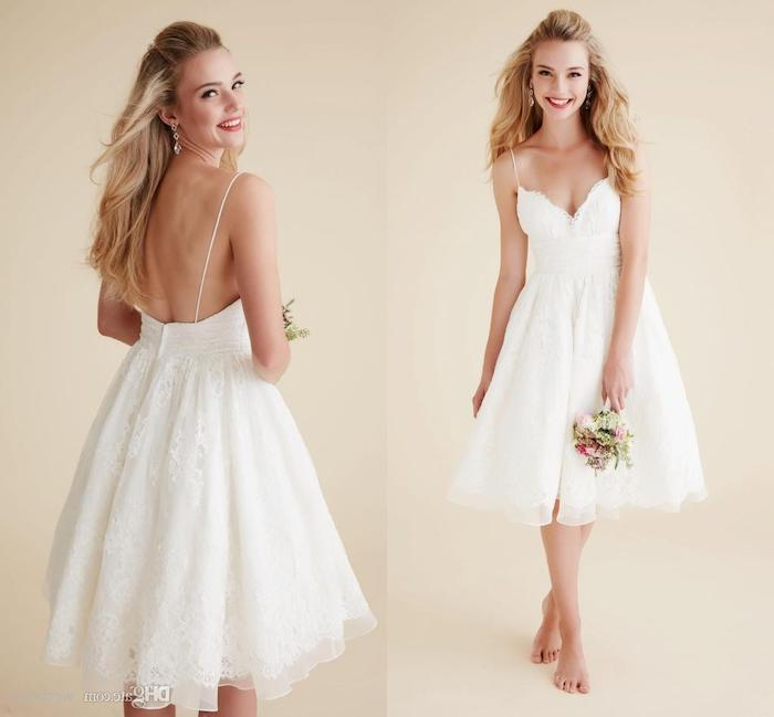 side by side photos, destination wedding dresses, long wavy blonde hair, lace dress