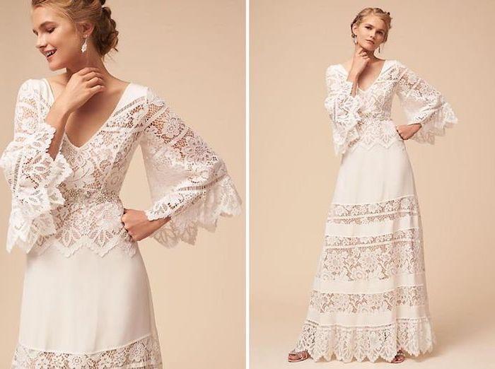 vintage lace dress, blonde braided hair, long sleeves, maxi dress for beach wedding