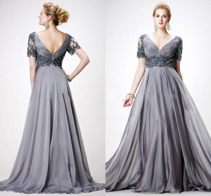 side by side photos, casual mother of the bride dresses, grey chiffon, v neckline, blonde hair, in a low updo