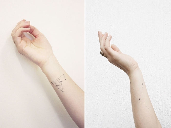 side by side photos, stars and constellation, forearm tattoos, best place to get a tattoo