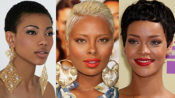 side by side photos, three different hairstyles, short bob hairstyles for black women, large earrings