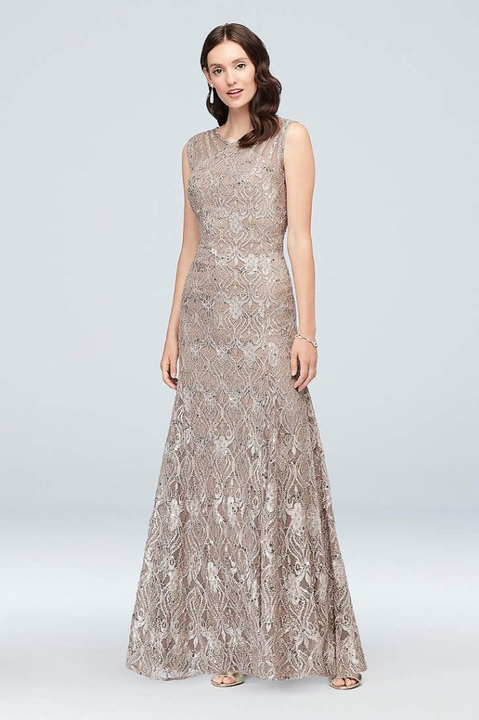 grey lace, gold mother of the bride dresses, brown wavy hair, white background