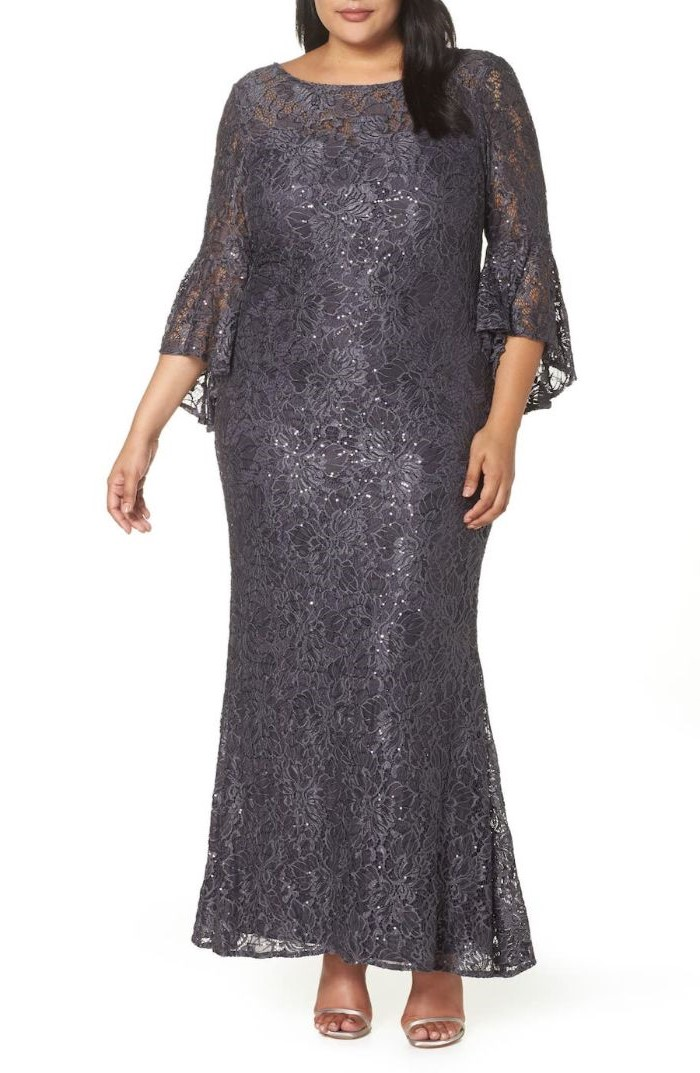 dark grey, lace dress, quarter sleeves, lace mother of the bride dresses, silver sandals, black hair