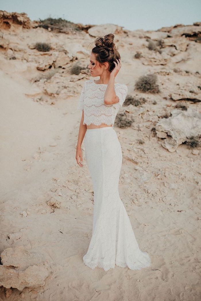 brown hair, in a messy bun, maxi dress for beach wedding, two piece dress, lace top, lace skirt