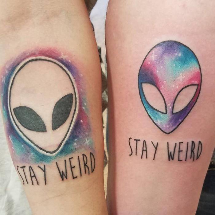 stay weird, watercolour alien, friendship tattoos, forearm tattoos