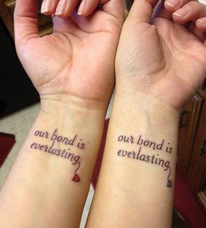 our bond is everlasting, best friend symbol tattoos, small red and blue hearts, wrist tattoos