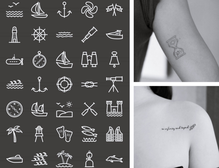 different symbols, discreet tattoo, hourglass tattoo, to infinity and beyond, shoulder tattoo, photo collage