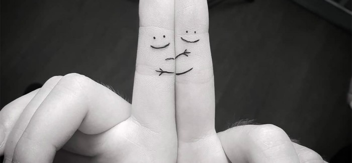 stick figures hugging, finger tattoos, best friend symbol tattoos, black and white photo