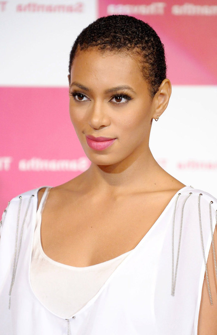 bob weave hairstyles, buzz cut, solange knowles, white dress, pink lipstick