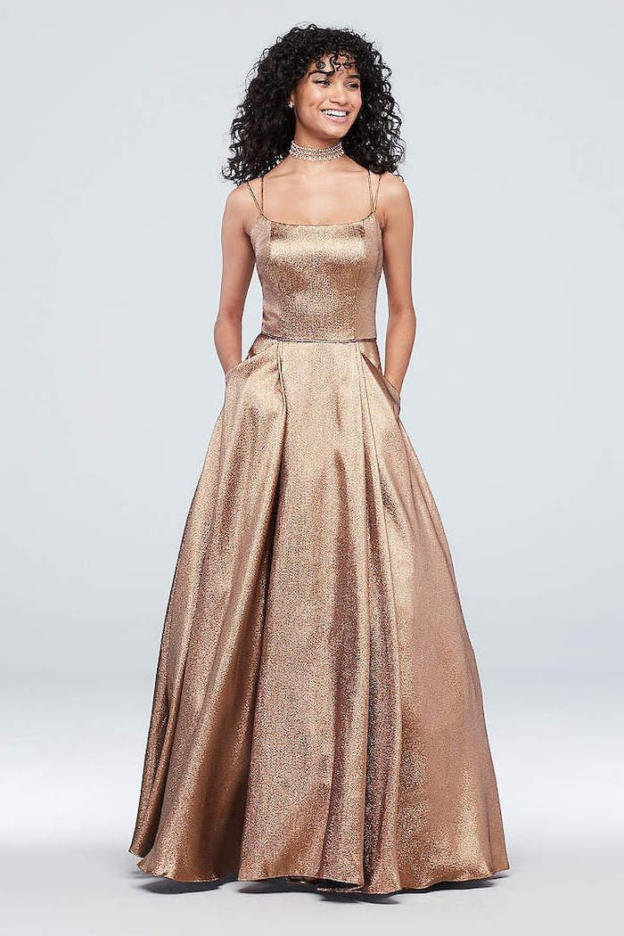 black curly hair, long gold dress, a line dress, gold bridesmaid dresses long, spaghetti straps
