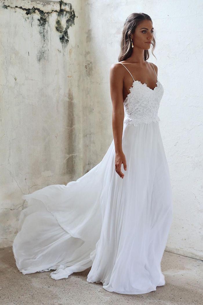 sweetheart neckline, maxi dress for beach wedding, lace top, chiffon skirt, brown wavy hair
