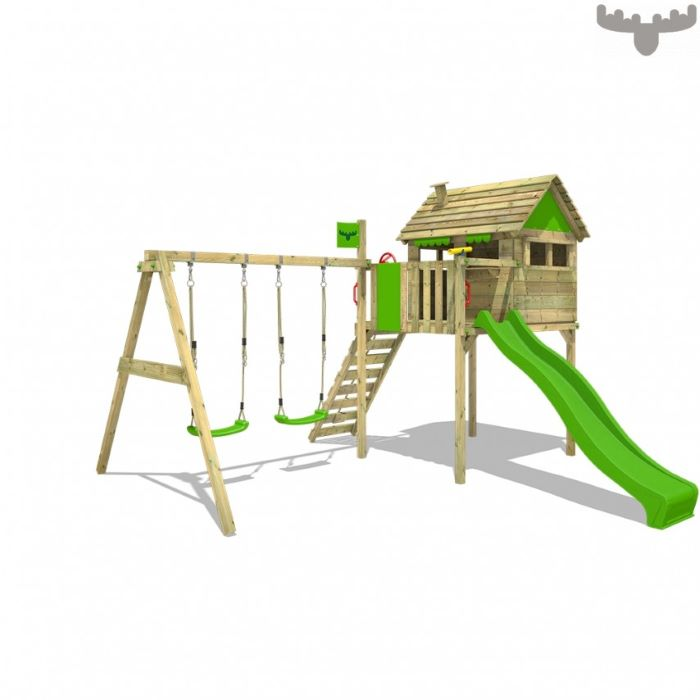 green slide, two swings, wooden ladder, small tree like house, climbing frame