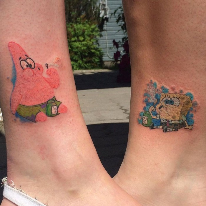 spongebob and patrick, coloured ankle tattoos, cute best friend tattoos, paved street