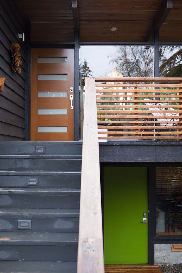 staircase and wooden railing, small porch ideas, white metal armchair, tall door and windows
