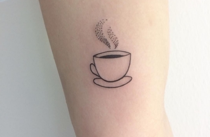 steaming coffee, inside arm tattoo, small tattoo placement, white background