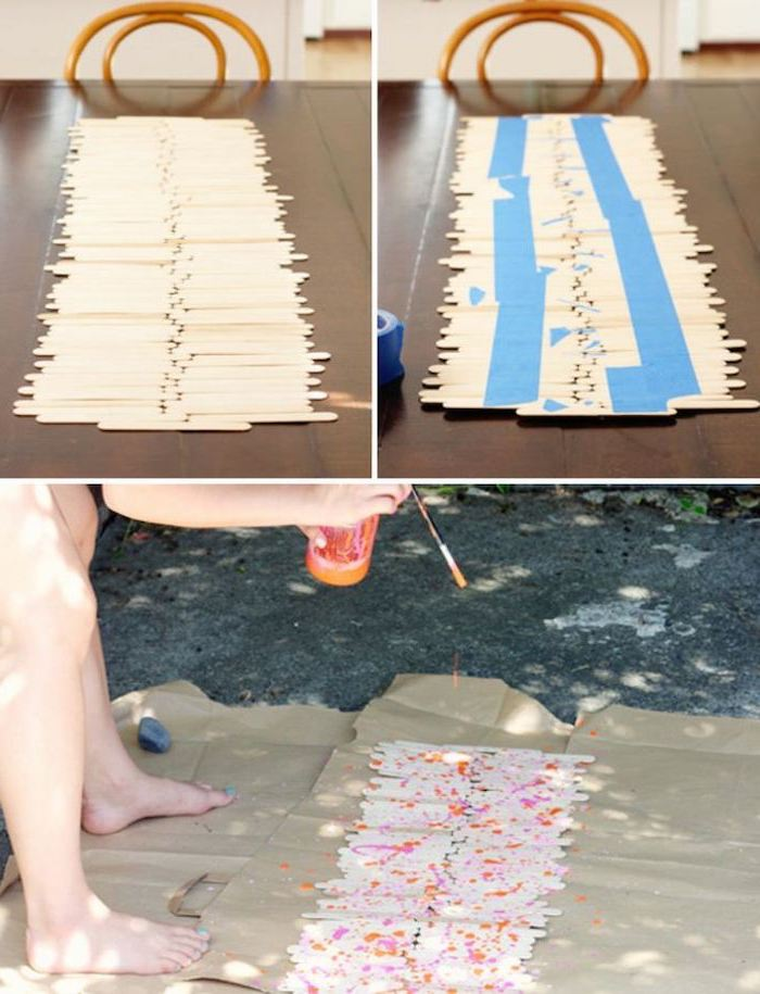 step by step, diy tutorial, popsicle sticks, table runner, birthday themes, sprayed with paint