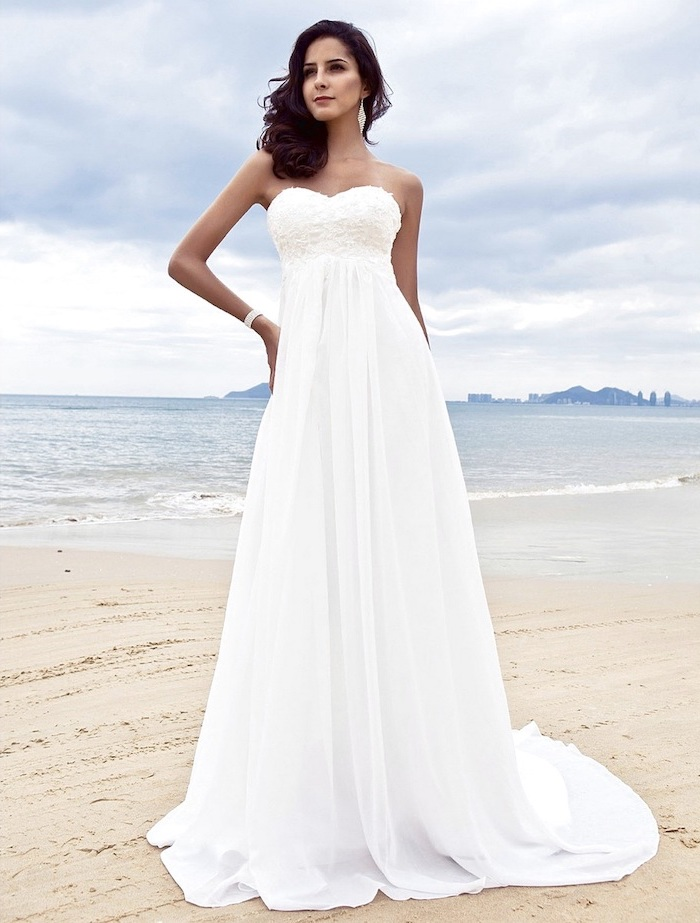 wedding dress with slit, strapless dress, made of chiffon, long black wavy hair