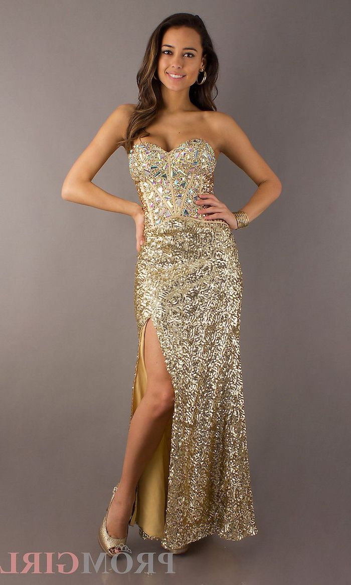 strapless gold dress, gold bridesmaid dresses long, brown wavy hair, gold open toe shoes