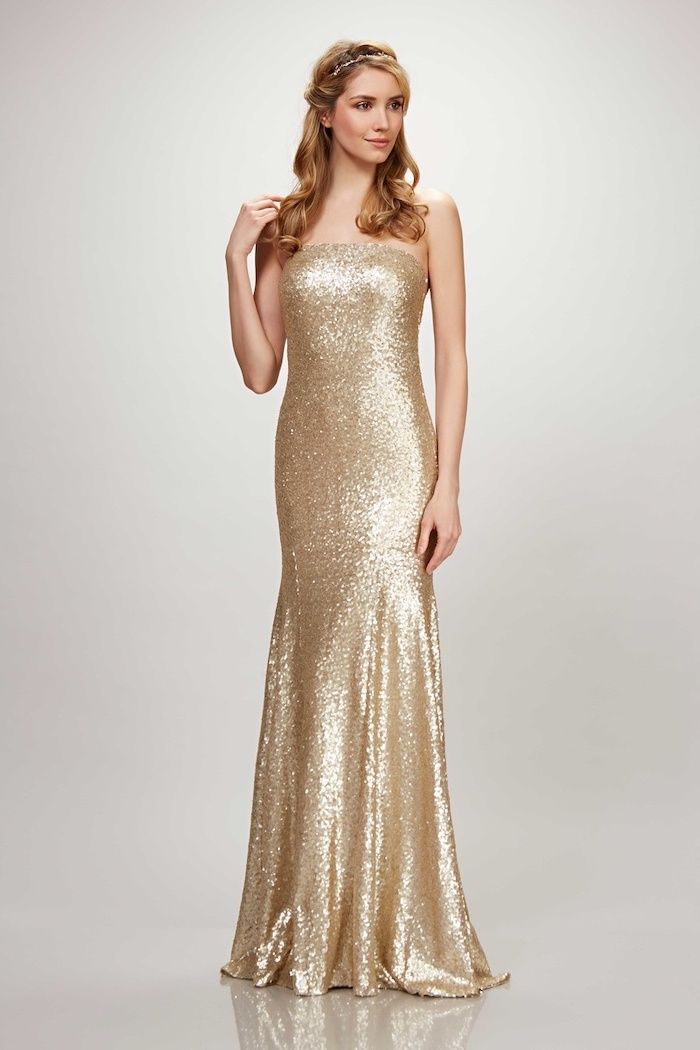 sparkly bridesmaid dresses, strapless gold sequin dress, blonde wavy hair