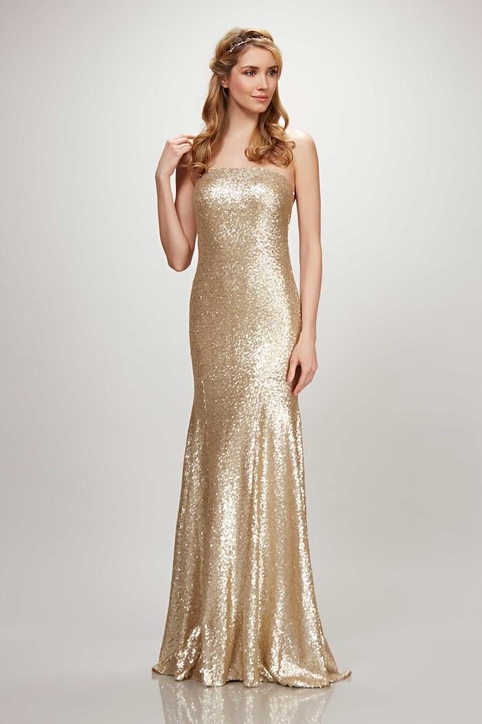 sparkly bridesmaid dresses, strapless gold sequin dress, blonde wavy hair