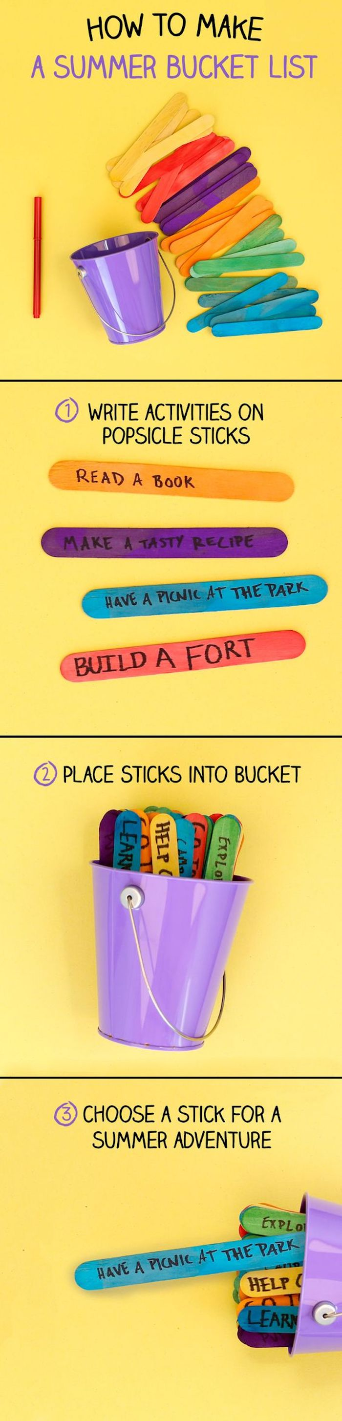 how to make a summer bucket list, diy things to do when bored, popsicle sticks, metal purple bucket