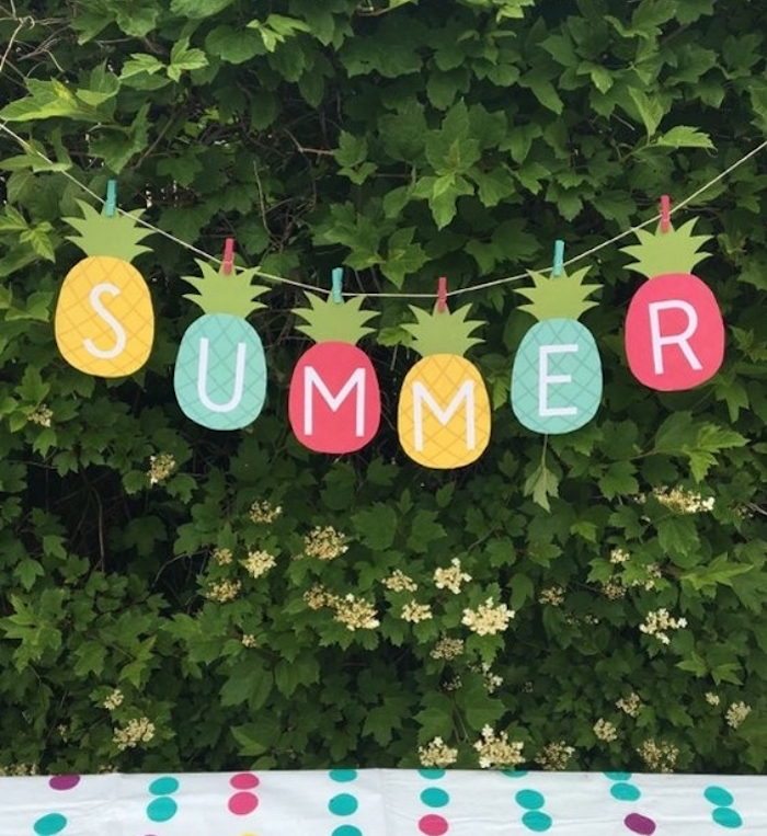 summer garland, paper pineapples, diy things to do when bored, green tree