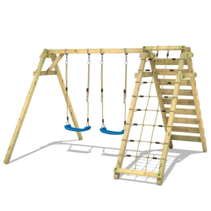 climbing ropes, wooden ladder, wooden swing set, two blue swings