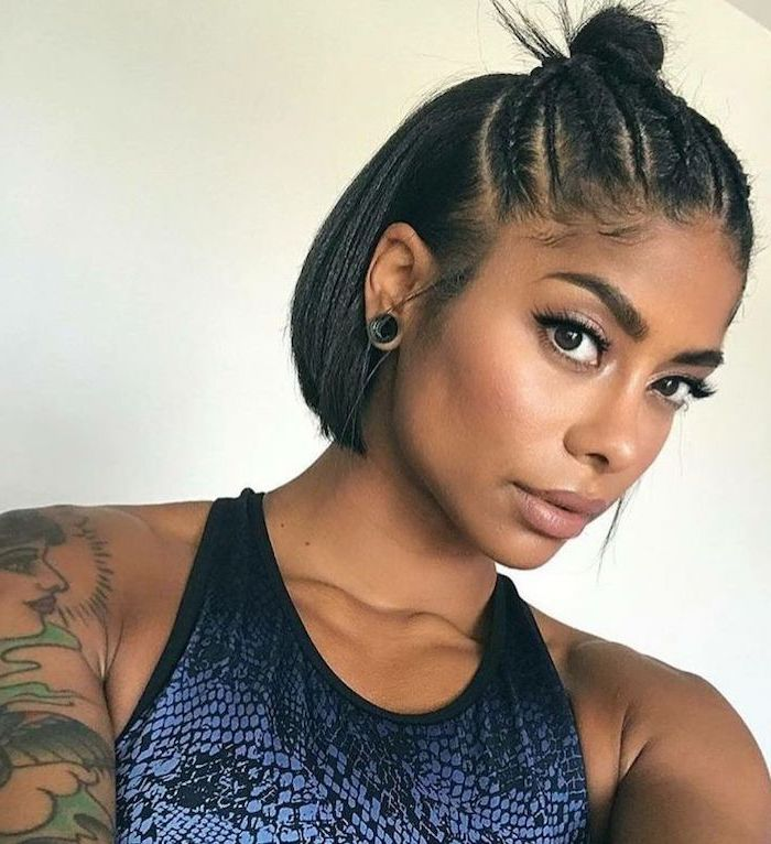 braided bun, bob weave hairstyles, blue top, tattoo sleeve, black hair