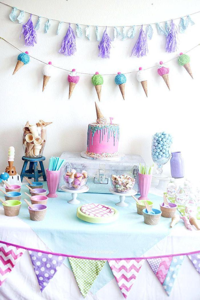 ice cream cones garland, good places to have a birthday party, pink purple and blue decor