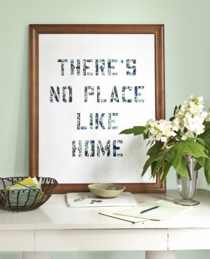 there's no place like home, made of photos, framed art, easy diys for kids, white flower bouquet