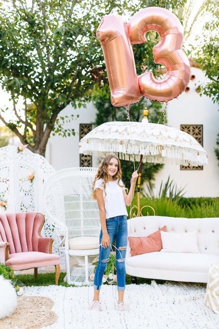 rose gold balloons, number thirteen, good places to have a birthday party, girl holding an umbrella, pink armchair