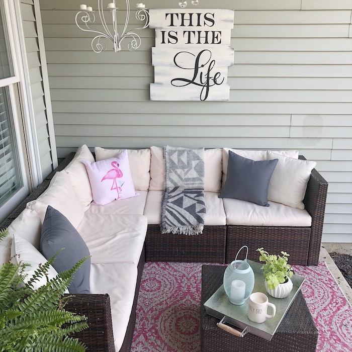 wooden furniture, white cushions, pink flamingo, throw pillow, front porch furniture ideas, this is the life board