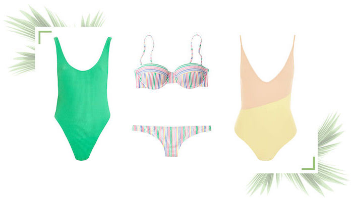 three different swimsuits, girls swimsuits, one and two piece, white background