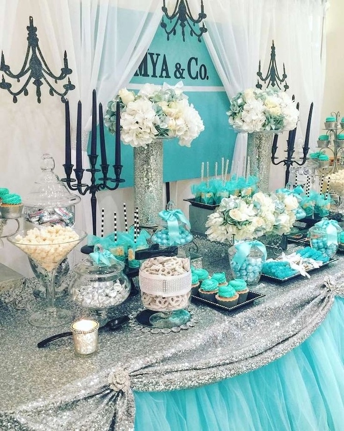 tiffany & co theme, blue and silver, good places to have a birthday party, cupcakes and cake pops, flower bouquets