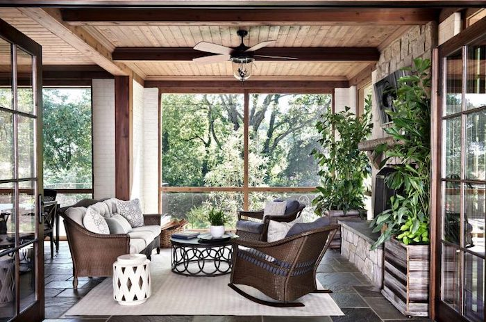 front porch furniture ideas, wooden furniture, rocking chair, white and grey cushions, white rug