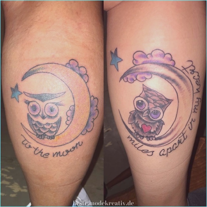 to the moon, miles apart in my heart, meaningful mother daughter tattoo ideas, back of leg tattoos