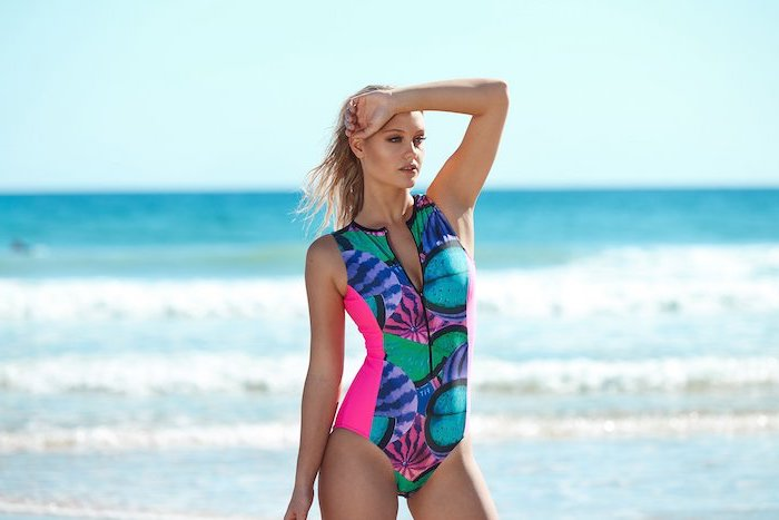 one piece, colourful watermelons print, girls swimsuits, woman with blonde hair