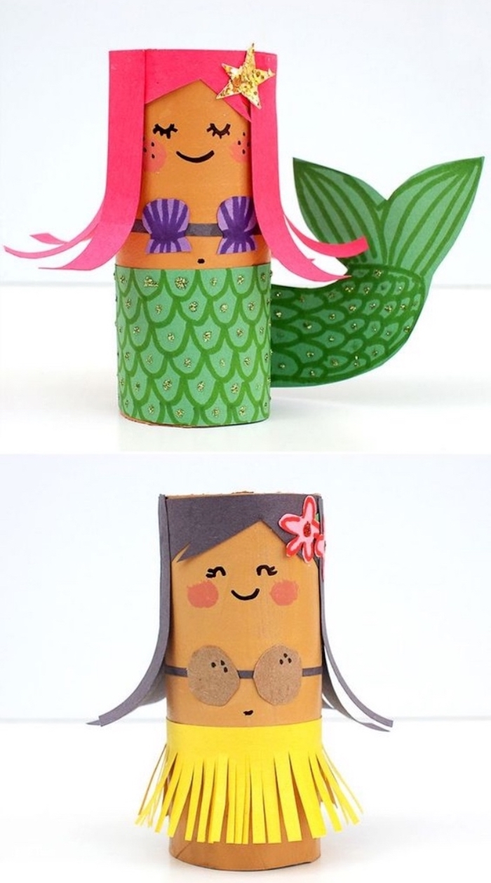 toilet paper rolls, painted as a mermaid, hula girl, easy diys for kids