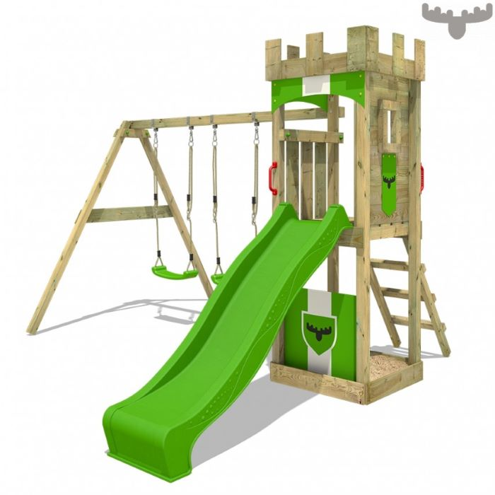 white background, long green slide, two swings, wooden ladder, climbing frame