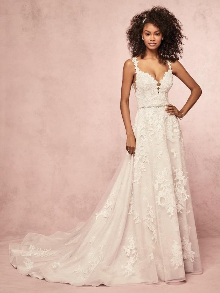 beach wedding dresses, long white dress, made of lace and tulle, long train, black curly hair