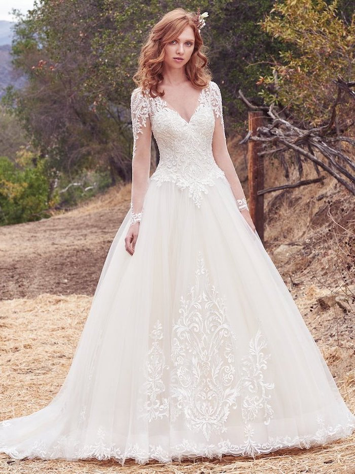 ginger wavy hair, gowns with sleeves, made of tulle and lace, v neckline, forest landscape