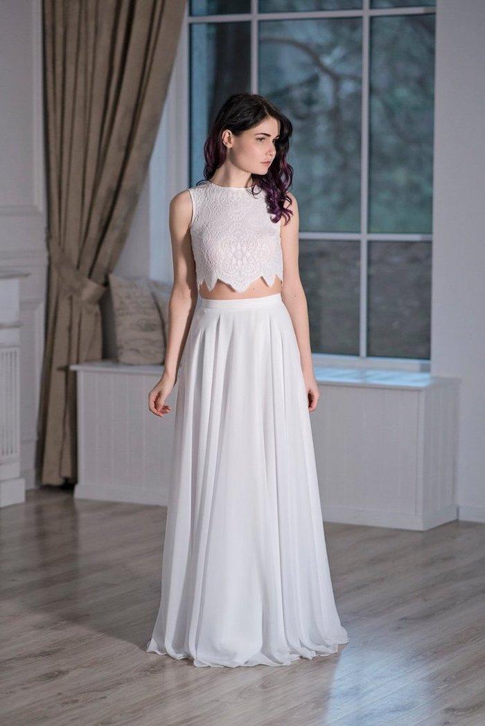 two piece dress, lace top, chiffon skirt, destination wedding dresses, black wavy hair