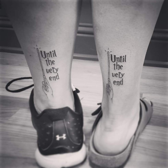 until the very end, magical wand, harry potted inspred, back of leg tattoos, friendship tattoos designs