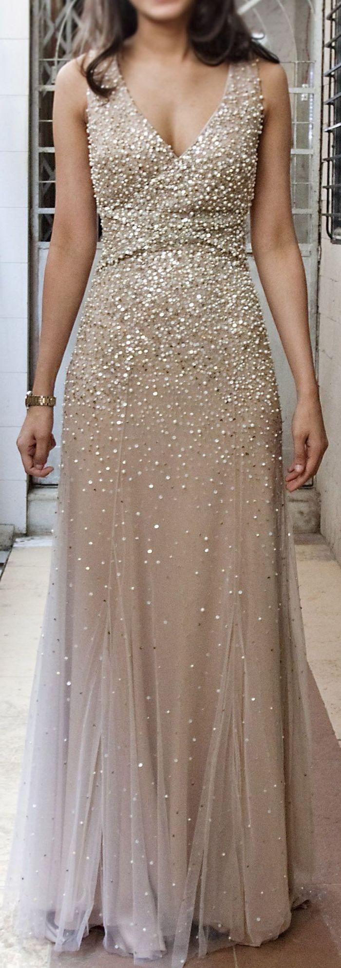 long dress, gold sequins, v neckline, sparkly bridesmaid dresses