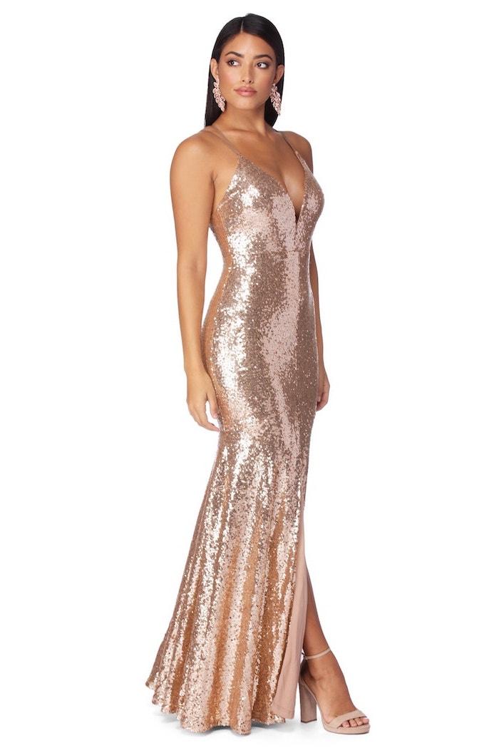 plunging v neckline, rose gold, sparkly bridesmaid dresses, nude sandals, black long hair